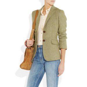 J. CREW Hacking Jacket Tweed Herringbone Green